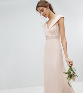 Read more about Tfnc tall bardot maxi bridesmaid dress with fishtail and embellished waist - nude