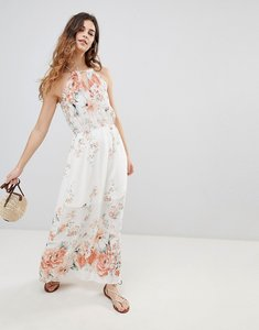 Read more about Crescent floral border print halter maxi dress - ivory