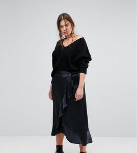 Read more about Simply be satin wrap frill maxi skirt - black