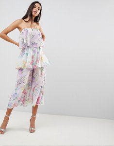Read more about Asos tiered jumpsuit in mixed florals - purple