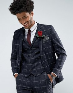 Read more about Asos wedding super skinny suit jacket in navy windowpane check with nepp - navy