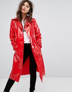 Read more about Prettylittlething vinyl trench coat - red