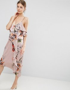 Read more about Asos cami ruffle front floral midi dress - multi