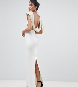 Read more about Asos design tall deep plunge pearl back maxi dress - cream