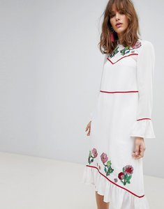 Read more about Asos embroidered yoke western midi dress - ivory