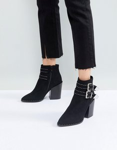 Read more about Raid black studded buckle heeled ankle boots - black suede