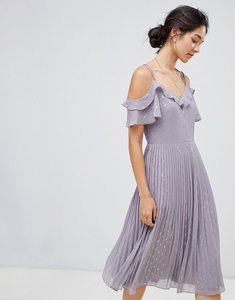 Read more about Oasis spot pleated midi dress with cold shoulder in lilac - lilac