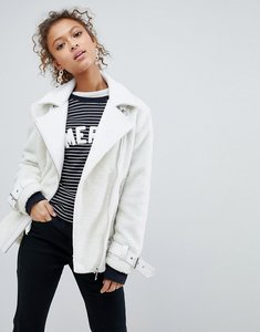 Read more about Miss selfridge borg oversized aviator jacket - cream