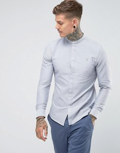 Read more about Farah brewer slim fit grandad oxford shirt in light grey - anthracite 085