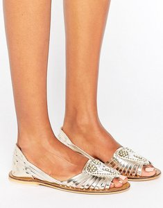 Read more about Asos jia leather embellished summer shoes - gold