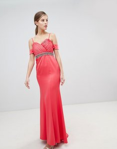 Read more about Little mistress off shoulder maxi dress with embellished waist - coral