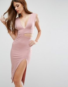 Read more about Asos cut out asymmetric plunge midi dress - nude