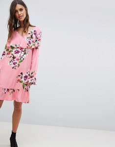 Read more about Vila soft floral ruffle midi dress - bridal rose