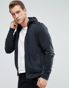 Read more about Polo ralph lauren athleisure full zip hooded sweat jacket in charcoal - dark granite hthr