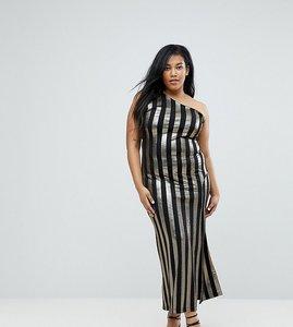 Read more about John zack plus one shoulder contrast stripe maxi dress - black gold