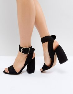 Read more about Asos hold tight heeled sandals - black