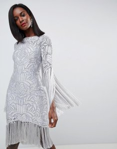 Read more about Asos edition all over embellished fringe dress with cut out back - grey