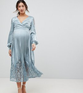 Read more about Little mistress maternity wrap front midi dress with lace pleated skirt - cornflower