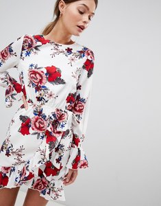 Read more about Parisian floral dress with tie waist and sleeve detail - white