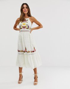 Read more about Asos design square neck tiered midi dress with lace and embroidery