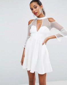 Read more about Asos tiered dobby deep plunge mini skater dress - ivory