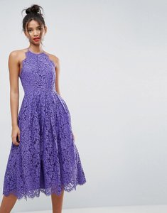 Read more about Asos lace pinny scallop edge prom midi dress - purple