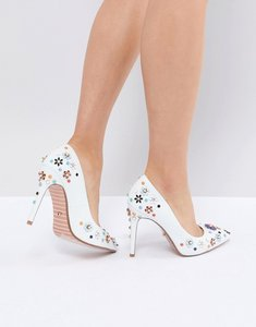 Read more about Dune summer leather embellished floral pointed heeled court shoes - white