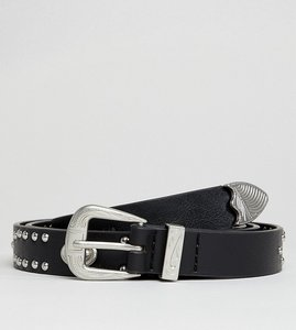 Read more about Asos design vegan plus faux leather slim belt in black with western buckle and studding - black