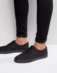 Read more about Asos lace up plimsolls in black - black