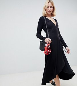 Read more about Asos tall midi wrap tea dress with long sleeves - black
