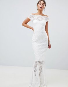 Read more about City goddess bardot lace fishtail maxi dress - white