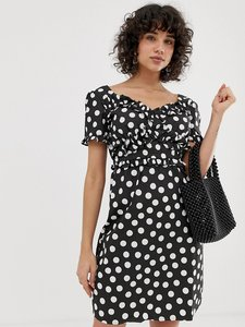 Read more about Lost ink dress with frill detail in polka dot - black spot