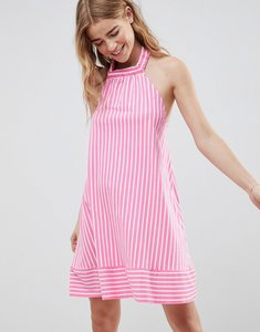 Read more about Asos design halter swing sundress in cut about stripe - pink white