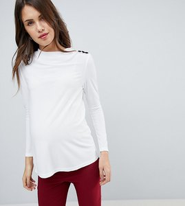 Read more about Asos maternity high drape neck top with button detail - white