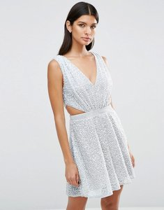 Read more about Asos embellished side cut out mini dress - silver