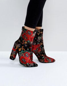 Read more about Public desire clayton embroidered heeled ankle boots - multi