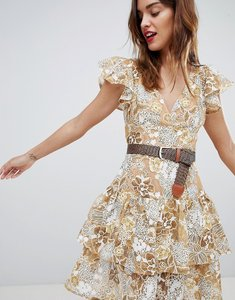 Read more about Bronx banco gold floral lace mini dress - multicolour