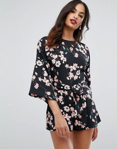 Read more about Asos playsuit with kimono sleeve and self belt tie in floral print - multi