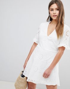 Read more about Parisian broderies skater dress with frill sleeve - white