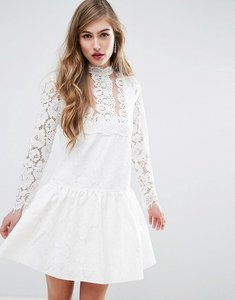 Read more about Asos premium lace applique dropwaist mini dress - white
