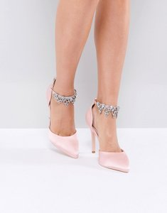 Read more about True decadence light pink embellished court shoes - pale pink