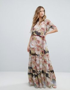 Read more about Traffic people short sleeve printed chiffon floral bloom maxi dress - multi