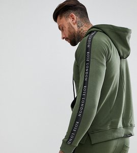 Read more about Rose london hoodie in khaki with side stripes exclusive to asos - khaki
