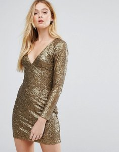 Read more about Little mistress heavily embellished gold bodycon dress - gold