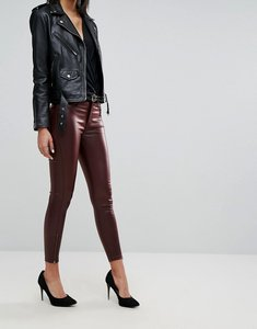 Read more about Dr denim mid rise coated ankle grazer jeans with zips - craving red metal