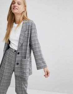 Read more about Monki check print tailored blazer - grey