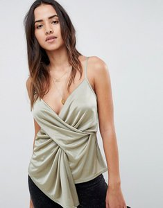 Read more about Asos design cami with asymmetric hem in slinky - khaki green