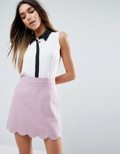 Read more about Asos sleeveless blouse with contrast placket - ivory black
