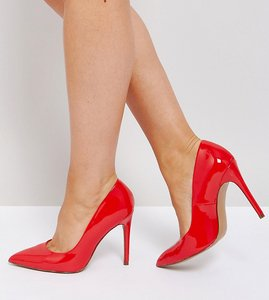 Read more about Asos paris wide fit pointed high heels - red patent
