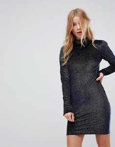 Read more about Glamorous high neck bodycon dress in glitter velvet - navy